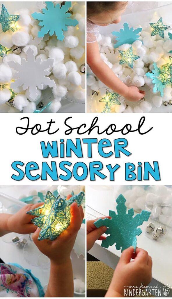 We LOVE this winter themed sensory bin. Lots of fun different textures and items to explore! Great for tot school, preschool, or even kindergarten!