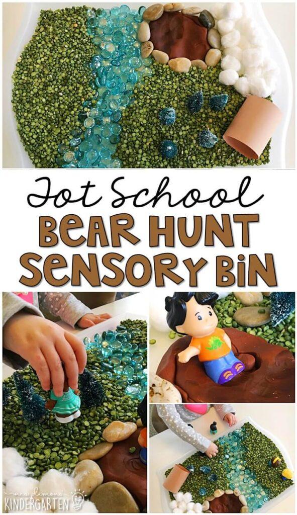 We LOVE this bear hunt sensory bin. Great for a bear theme in tot school, preschool, or even kindergarten!
