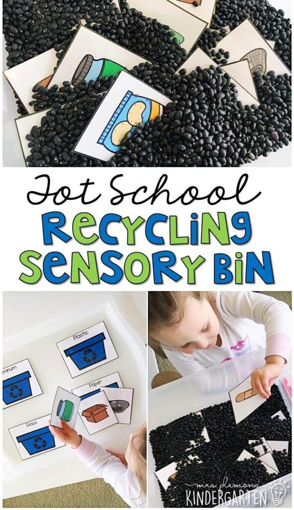 We LOVE this recycling sort sensory bin. Great for Earth Day in tot school, preschool, or even kindergarten!