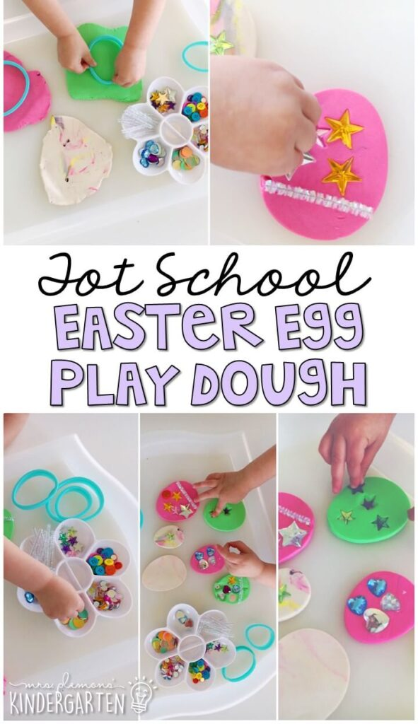 We LOVE this Easter egg play dough tray. Play dough is the perfect sensory and fine motor material to explore! Great for an Easter theme in tot school, preschool, or even kindergarten!