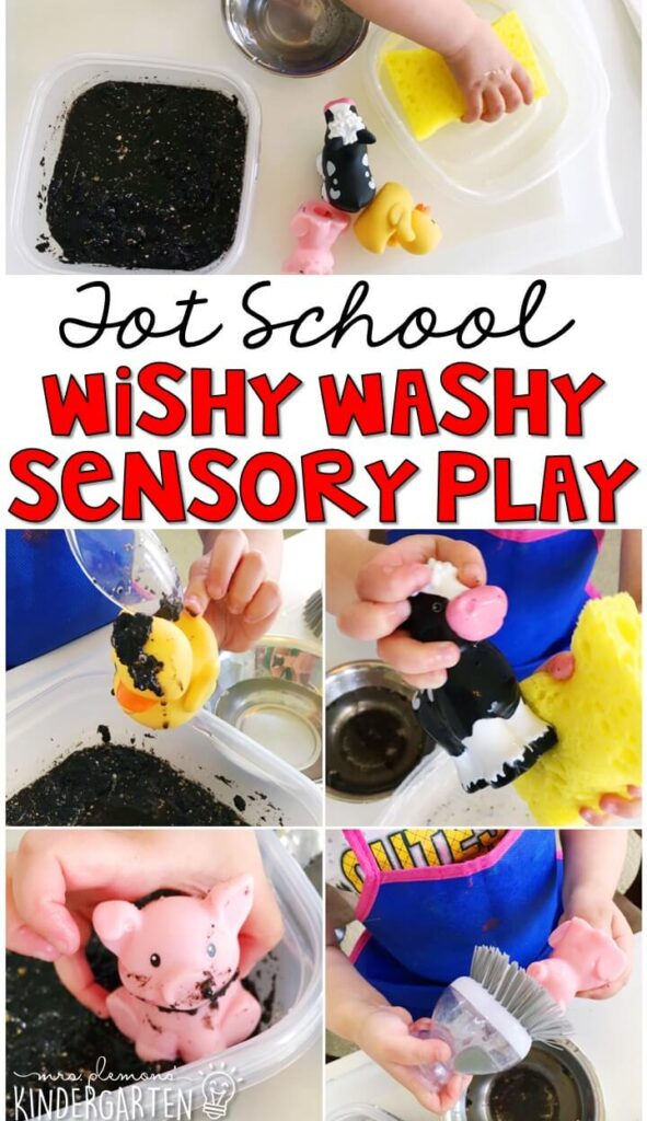 We LOVE this wishy-washy sensory bin. So much fun to play with and explore! Great for a farm theme in tot school, preschool, or even kindergarten!