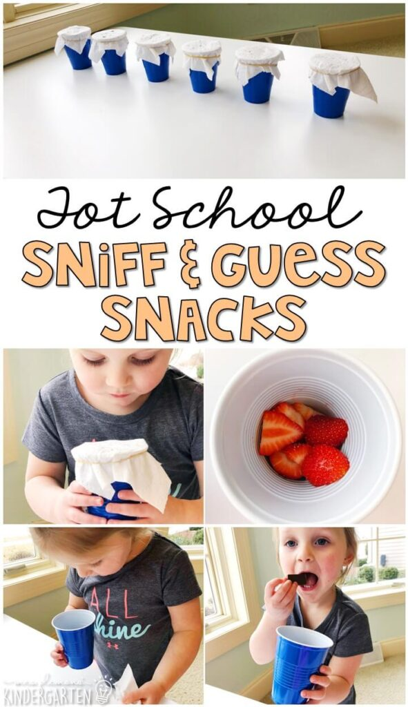 These yummy snacks are perfect for a 5 senses theme in tot school, preschool, or kindergarten!