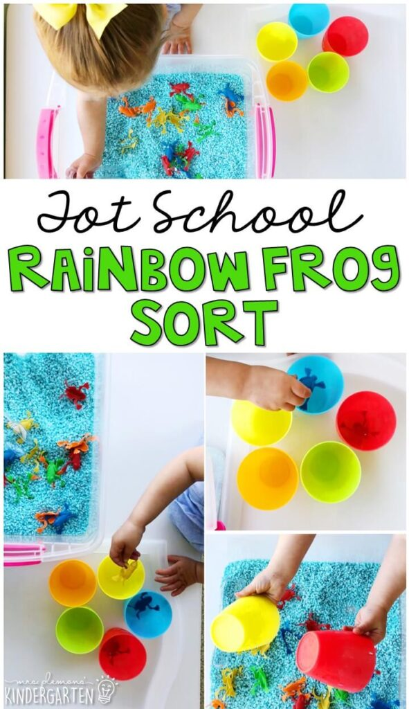 We LOVE this rainbow frog sort sensory bin. Great for sorting and color identification with a frog theme in tot school, preschool, or even kindergarten!