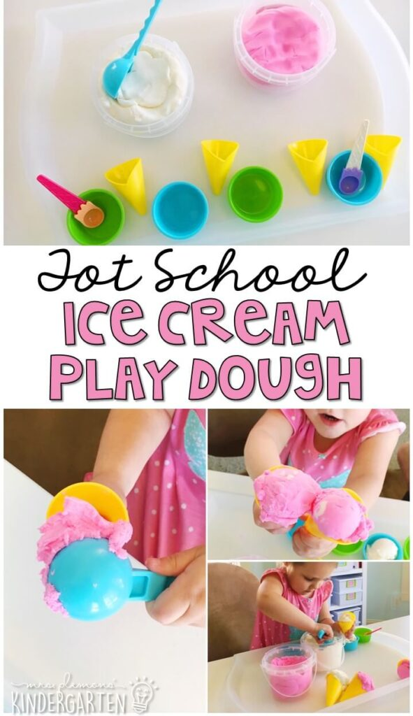 We LOVE this ice cream play dough sensory tray. This frosting play dough has the most amazing texture and is the perfect sensory and fine motor material to explore! Great for an ice cream theme in tot school, preschool, or even kindergarten!