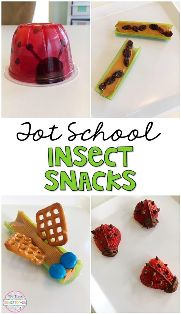 These yummy snacks are perfect for an insect theme in tot school, preschool, or kindergarten!