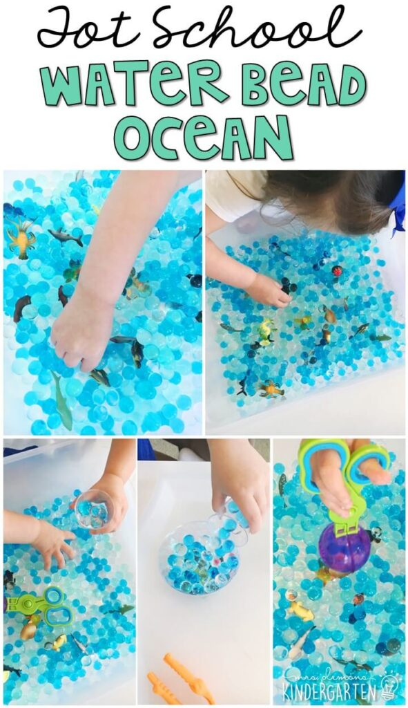 We LOVE this water bead ocean themed sensory bin. So much fun to play with and explore! Great for an ocean theme in tot school, preschool, or even kindergarten!