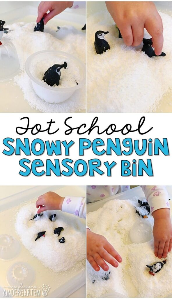 We LOVE this snowy penguin sensory bin. This instant snow is so fluffy and fun to explore! Great for winter in tot school, preschool, or even kindergarten!