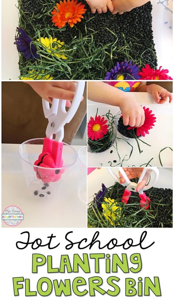 We LOVE this planting flowers sensory bin. So many fun items to use for pretend, play and exploration! Great for a plant theme in tot school, preschool, or even kindergarten!