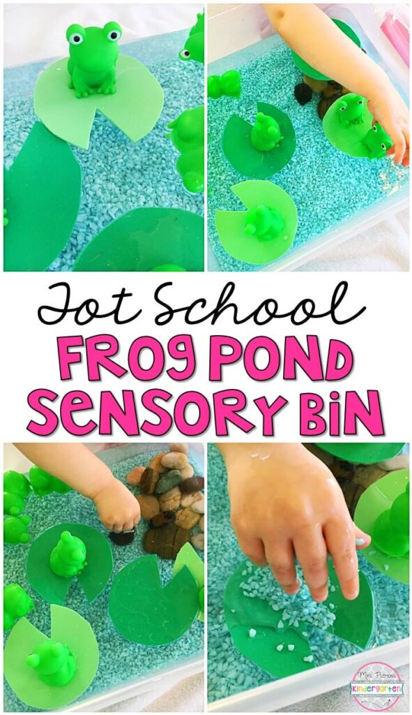 We LOVE this froggy pond sensory bin. So much fun to splash play and explore! Great for spring in tot school, preschool, or even kindergarten!