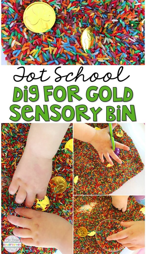 We LOVE this dig for gold sensory bin. Great for St. Patrick's Day in tot school, preschool, or even kindergarten!