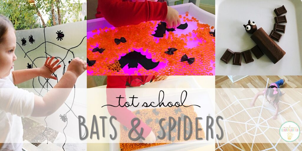 Tons of bat and spider themed activities and ideas. Weekly plan includes books, fine motor, gross motor, sensory bins, snacks and more! Perfect for fall or Halloween in tot school, preschool, or kindergarten.