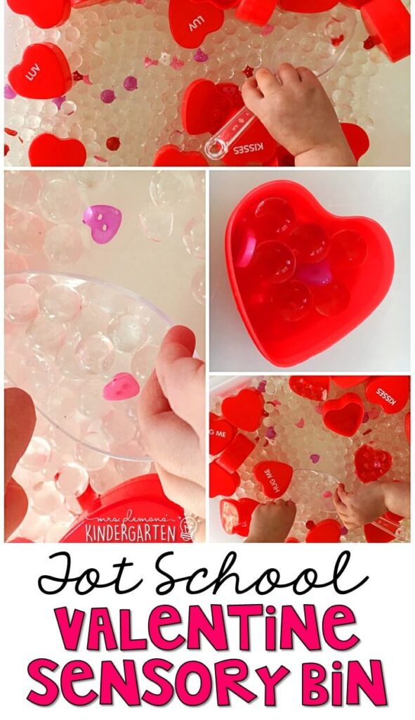 We LOVE this valentine's water bead sensory bin. So many fun ways to pretend, play and explore! Great for tot school, preschool, or even kindergarten!