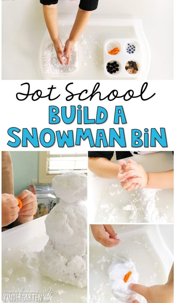 We LOVED playing and building with pretend snow in this build a snowman sensory bin. Great for a winter theme in tot school, preschool, or even kindergarten!
