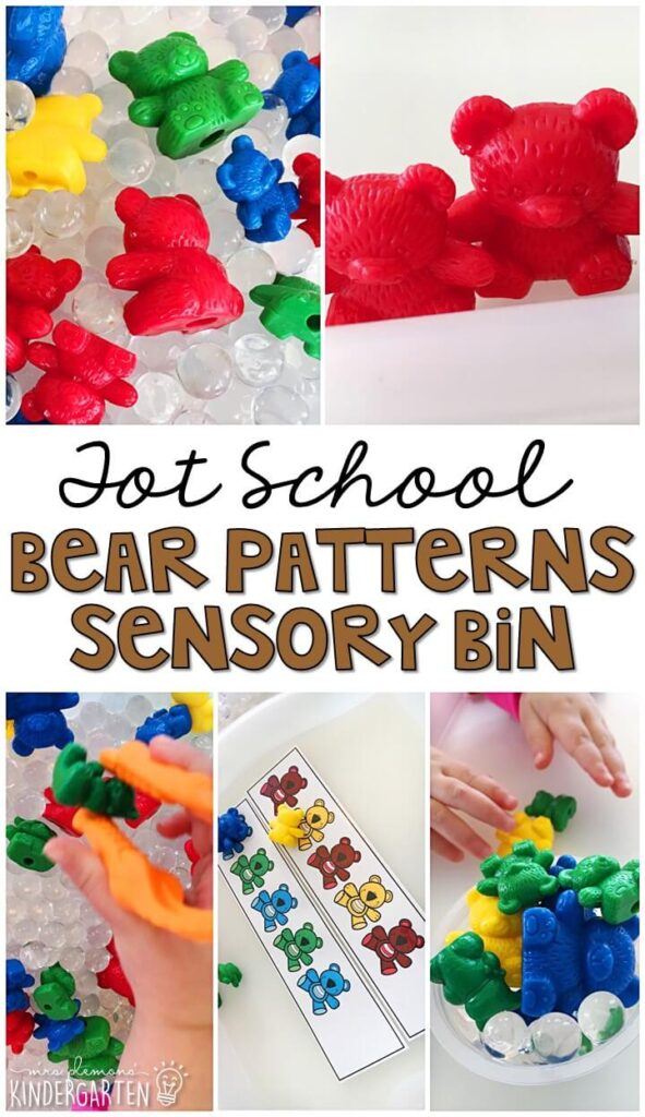 We LOVE this bear patterns sensory bin. Great for practicing patterns with a bear theme in tot school, preschool, or even kindergarten!