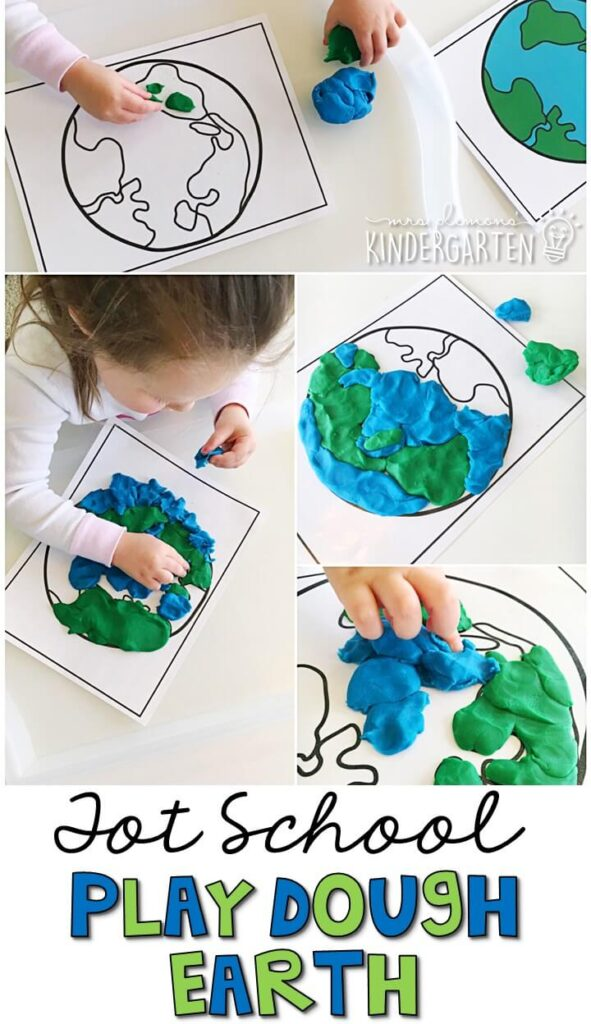 We LOVE these Earth play dough mats. Play dough is the perfect sensory and fine motor material to explore! Great for Earth Day in tot school, preschool, or even kindergarten!
