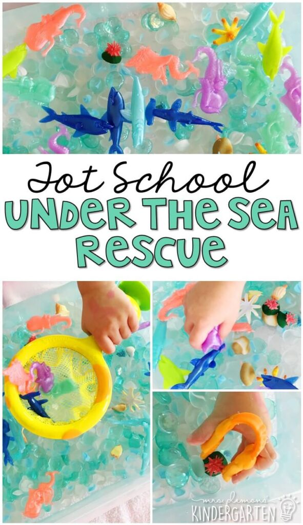 We had so much fun with this under the sea rescue sensory bin. So much fun to play with and explore! Great for an ocean theme in tot school, preschool, or even kindergarten!