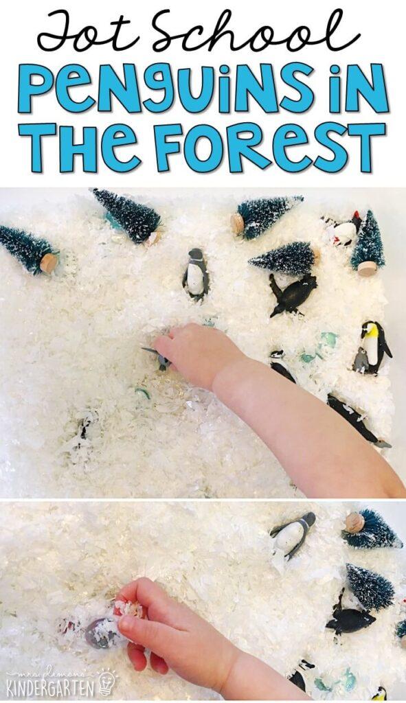 We LOVE this penguin sensory bin. Great for winter in tot school, preschool, or even kindergarten!