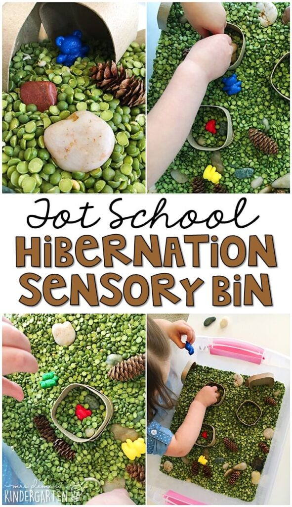 We LOVE this hibernation themed sensory bin. So much fun to pretend, play and explore with a bear theme. Great for tot school, preschool, or even kindergarten!