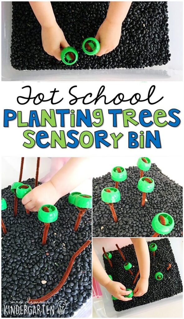 We LOVE this planting trees sensory bin. Great for exploring and pretending with an Earth Day theme in tot school, preschool, or even kindergarten!