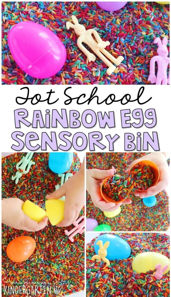We LOVE this rainbow egg theme sensory bin. So many fun pieces to sort, play and explore with! Great for and Easter theme in tot school, preschool, or even kindergarten!