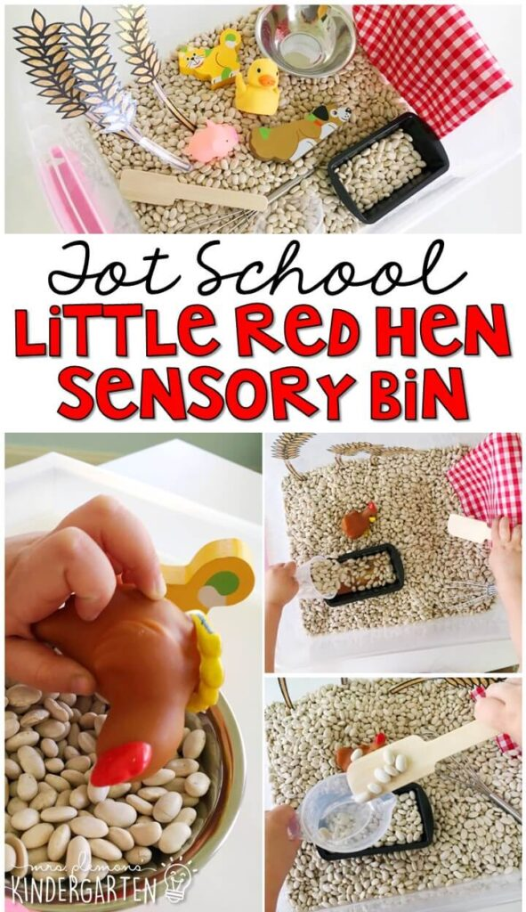 We LOVE this little red hen sensory bin. So much fun to play with and explore! Great for a farm theme in tot school, preschool, or even kindergarten!