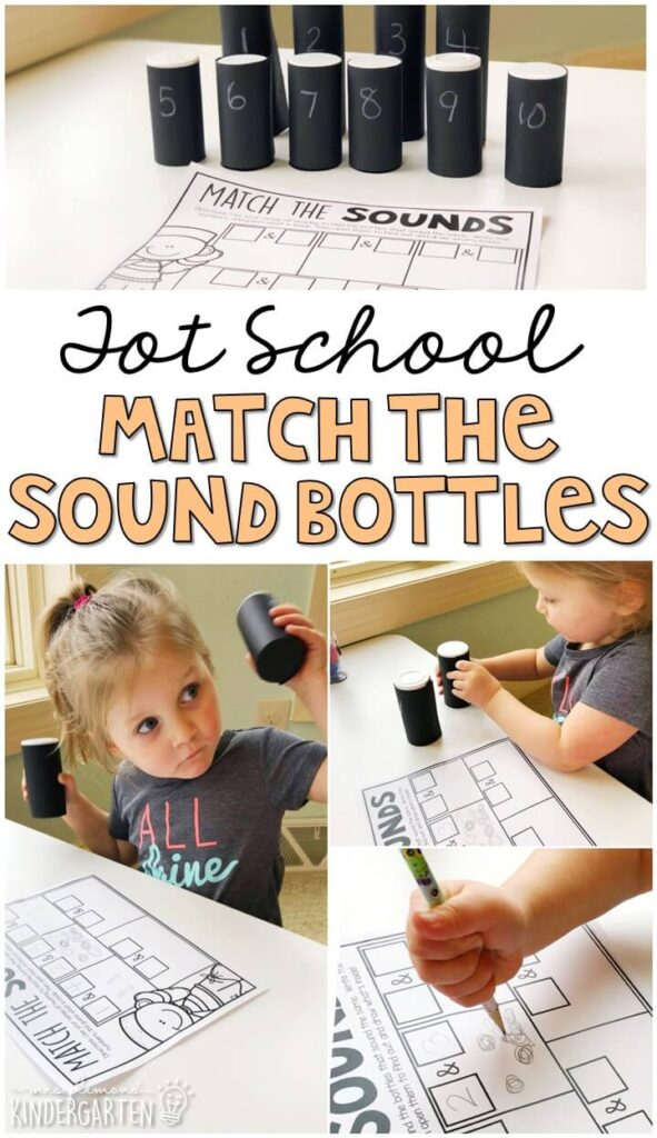 We LOVE this match the sound sensory bottle activity. Perfect way to explore the sense of sound for our five senses theme. Great for tot school, preschool, or even kindergarten!