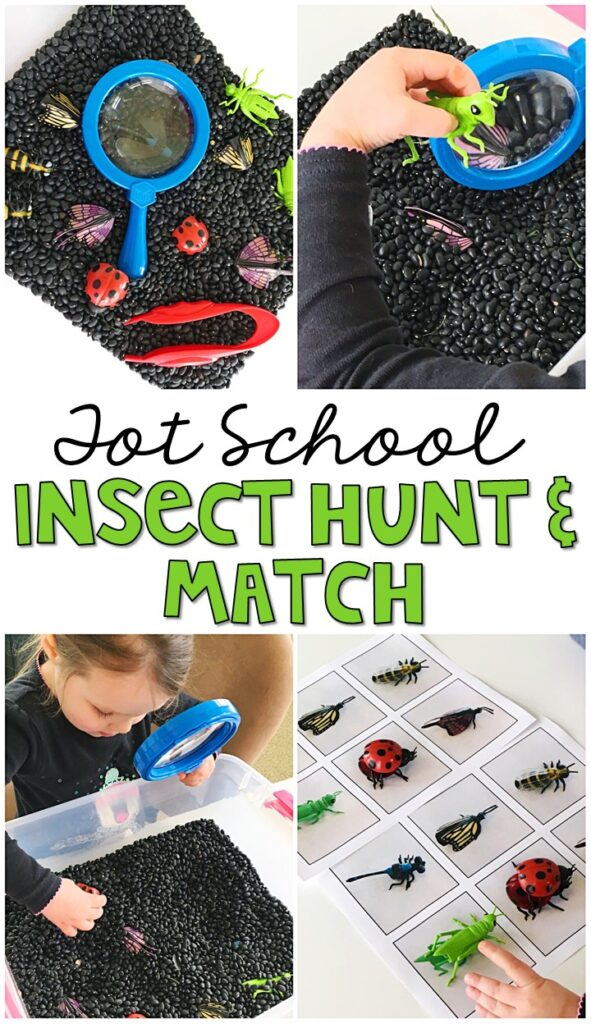We LOVE this insect hunt and match sensory bin. Such an engaging way to explore and learn about insects and their characteristics. Great for tot school, preschool, or even kindergarten!