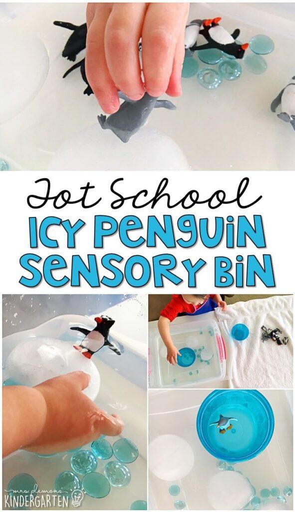 We LOVE this icy penguin sensory bin. Great for winter in tot school, preschool, or even kindergarten!
