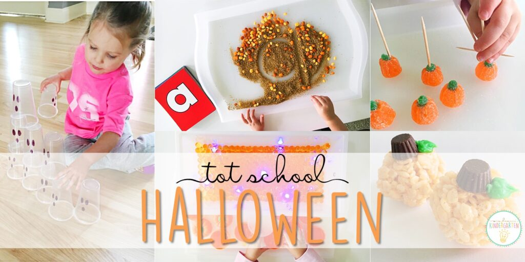 Tons of Halloween themed activities and ideas. Weekly plan includes books, fine motor, gross motor, sensory bins, snacks and more! Perfect for fall in tot school, preschool, or kindergarten.
