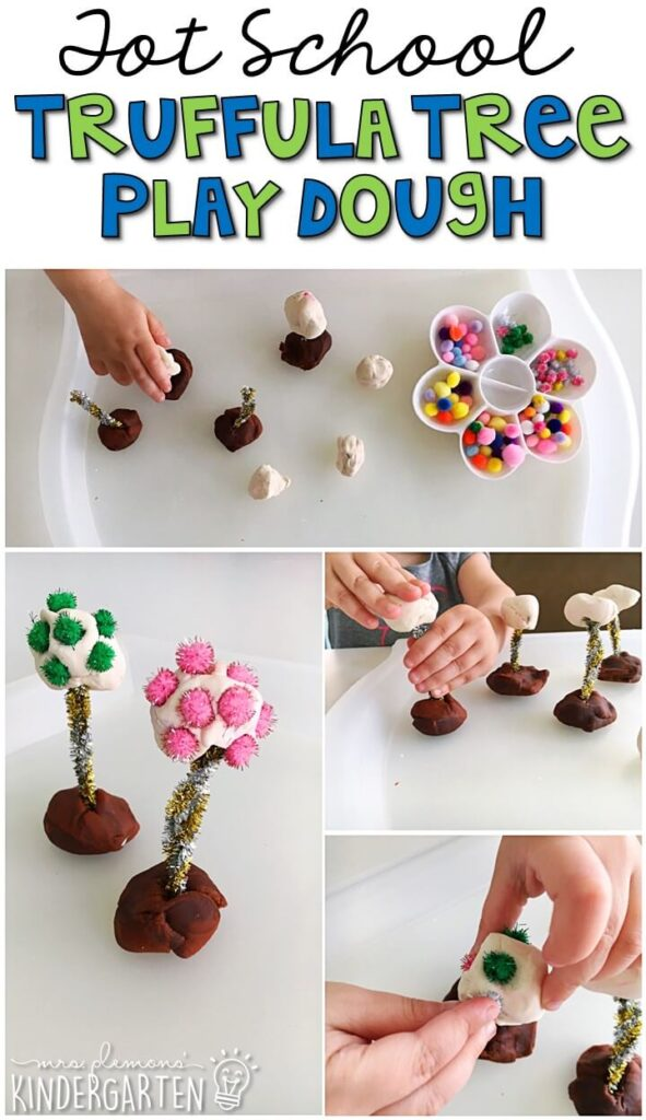 We had so much fun building these play dough truffula trees for our Earth Day theme. Great for tot school, preschool, or even kindergarten!