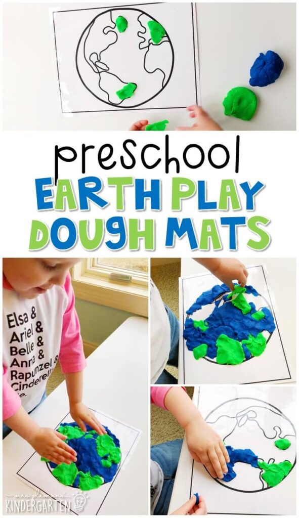 We LOVE Earth play dough mats. Perfect for exploration with an Earth Day theme in tot school, preschool, or even kindergarten!