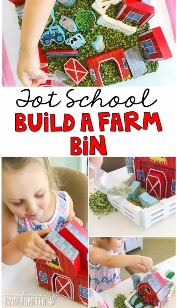 We LOVE this build a farm sensory bin. Lots of fun pieces to pretend, play and explore. Great for a farm theme in tot school, preschool, or even kindergarten!