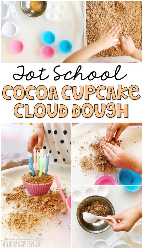 We LOVE this cocoa cloud dough sensory bin. Perfect way to explore the sense of touch and smell for our five senses theme. Great for tot school, preschool, or even kindergarten!