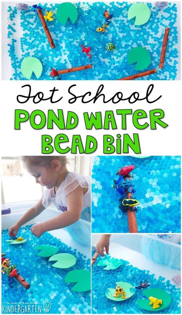 We LOVE this pond water bead sensory bin. Great for a frog theme in tot school, preschool, or even kindergarten!