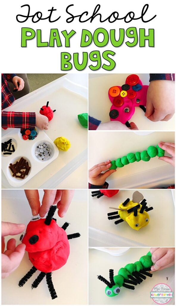We LOVE this bug play dough tray. Play dough is the perfect sensory and fine motor material to explore! Great for an insect theme in tot school, preschool, or even kindergarten!