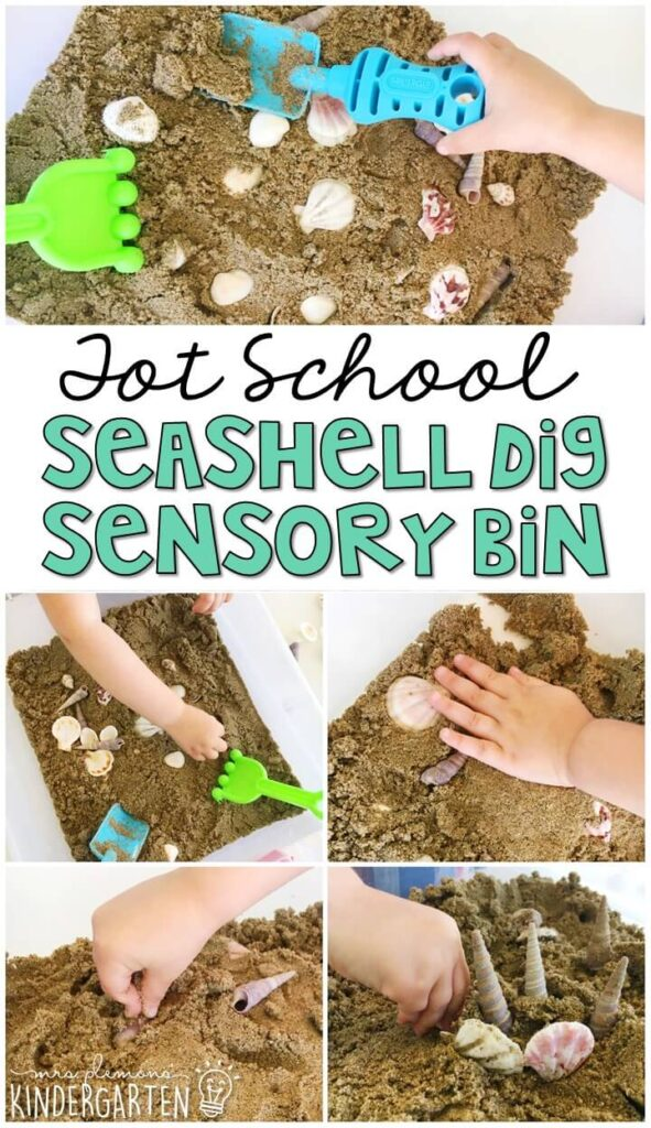 We had lots of fun digging and playing in this seashell dig sensory bin. Lots of fun pieces to pretend, play and explore. Great for an ocean theme in tot school, preschool, or even kindergarten!
