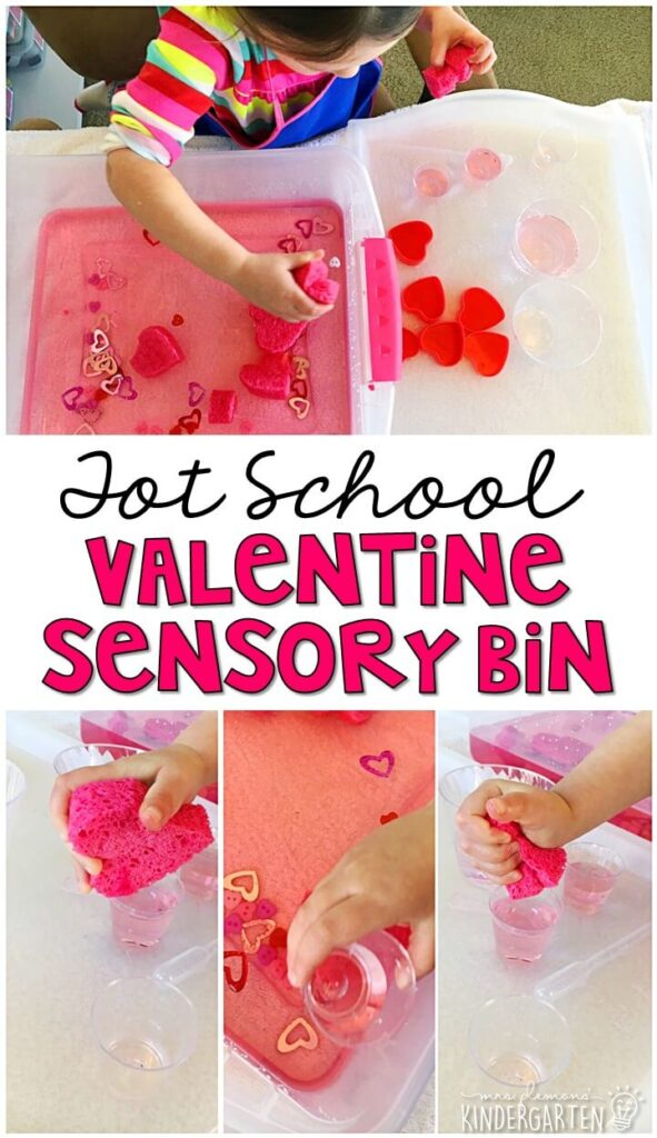 We LOVE this valentine's themed water sensory bin. Water filled sensory bins are always a favorite so dying the water pink and adding sponges kept my girls so engaged! Great for tot school, preschool, or even kindergarten!