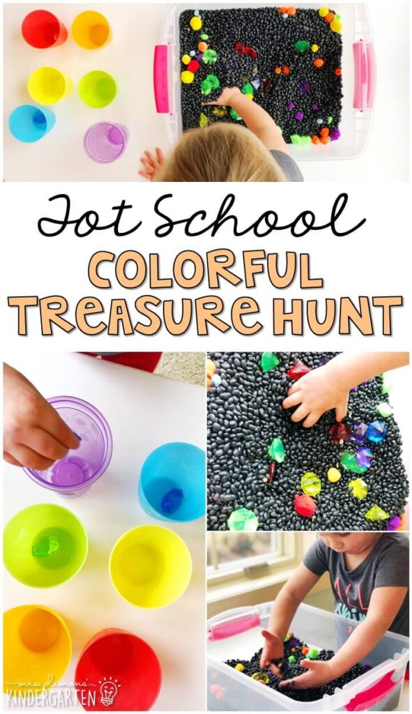 We LOVE this colorful treasure hunt sensory bin. Perfect way to explore the sense of sight for our five senses theme. Great for tot school, preschool, or even kindergarten!