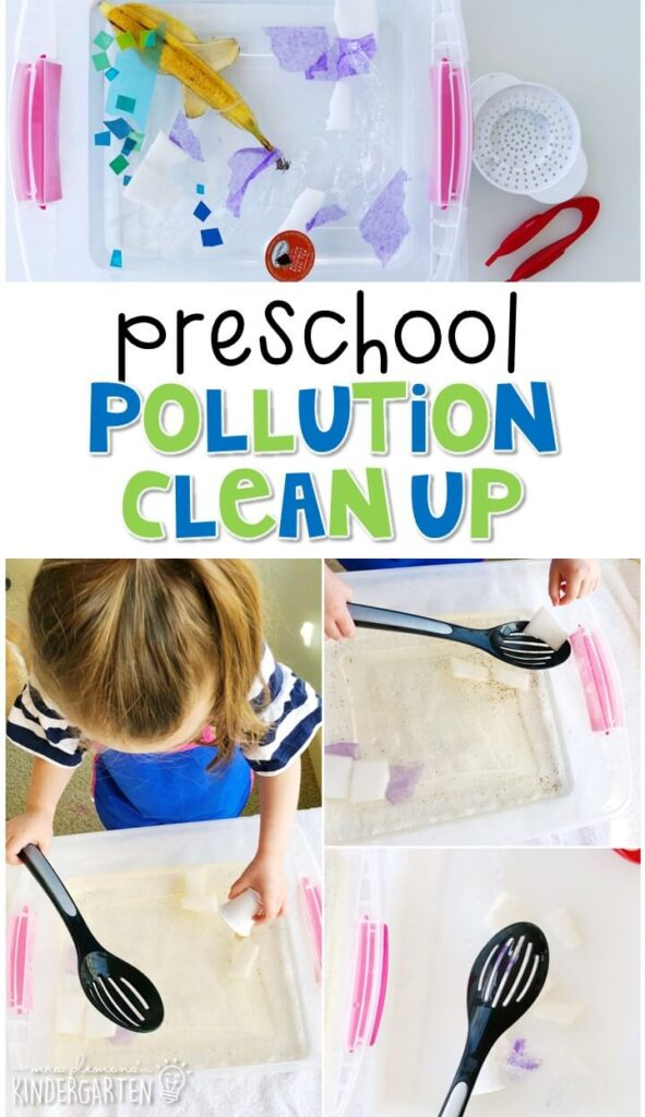 This pollution clean up activity was a great hands on way to explore Earth Day learning. Great for spring in tot school, preschool, or even kindergarten!
