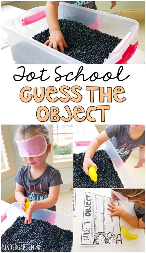 We LOVE this guess the object sensory bin. Perfect way to explore the sense of touch for our five senses theme. Great for tot school, preschool, or even kindergarten!