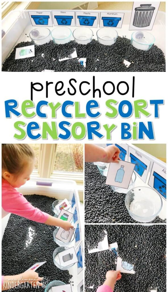 We LOVE recycle sort sensory bin. Perfect for exploration with an Earth Day theme in tot school, preschool, or even kindergarten!