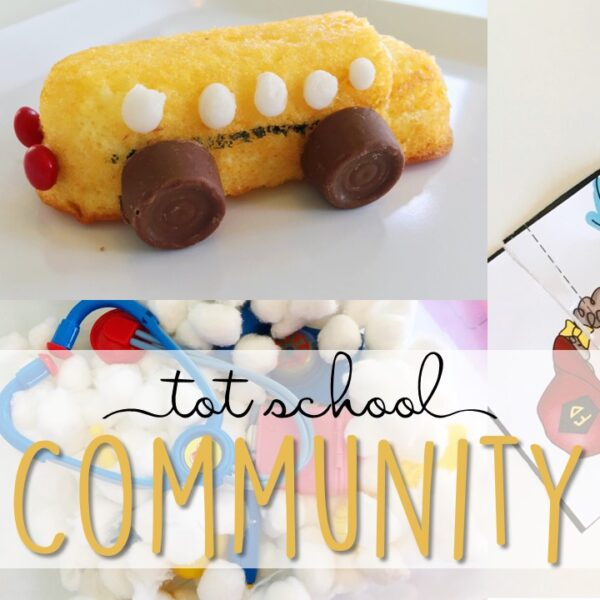 Tons of community themed activities and ideas. Weekly plan includes books, literacy, math, science, art, sensory bins, and more! Perfect for tot school, preschool, or kindergarten.