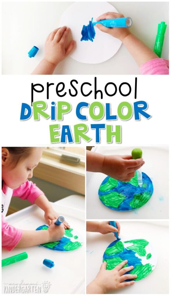 We had a blast making these drip color Earths for our Earth Day theme Perfect for tot school, preschool, or even kindergarten!
