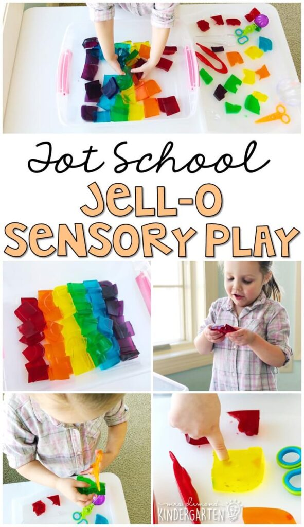 We LOVE this colorful Jello-O sensory bin. Perfect way to explore all five senses. Great for a five senses theme in tot school, preschool, or even kindergarten!