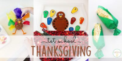 Tons of Thanksgiving themed activities and ideas. Weekly plan includes books, literacy, math, science, art, sensory bins, and more! Perfect for fall in tot school, preschool, or kindergarten.