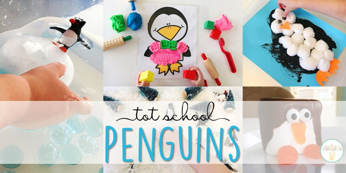 Tons of penguin themed activities and ideas. Weekly plan includes books, literacy, math, science, art, sensory bins, and more! Perfect for tot school, preschool, or kindergarten.