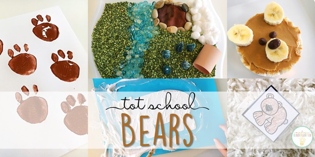 Tons of bear themed activities and ideas. Weekly plan includes books, literacy, math, science, art, sensory bins, and more! Perfect for tot school, preschool, or kindergarten.