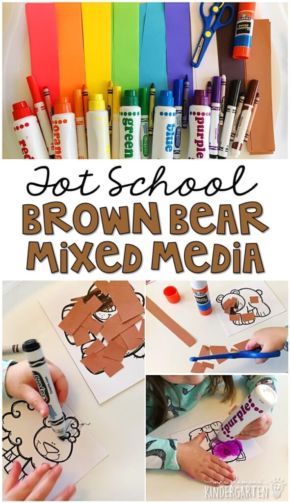 This Brown Bear mixed media art was such a fun way to get our fine motor practice in with a bear theme. Great for tot school, preschool, or even kindergarten!