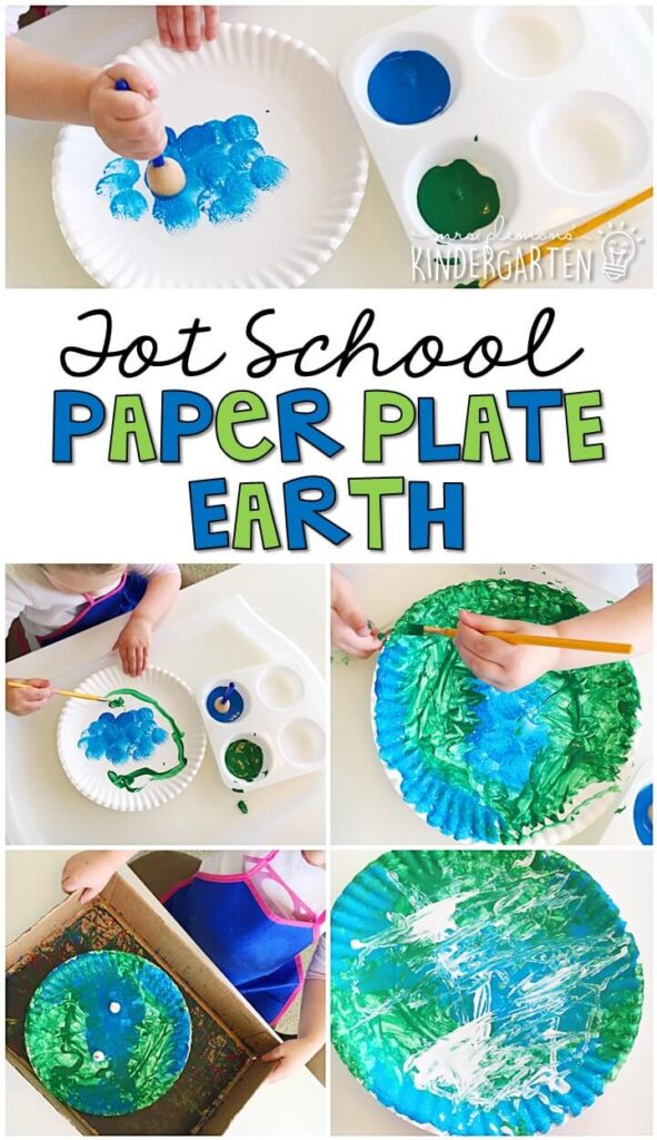 These paper plate earth projects turned out so cute and incorporated lots of fine motor practice. Great for Earth Day in tot school, preschool, or even kindergarten!