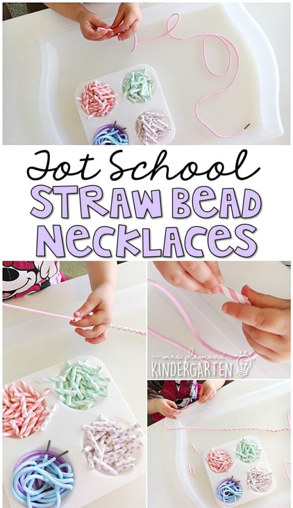 Cut up paper straws make the perfect beads for threading and fine motor practice. These pastel colors were perfect for our Easter theme. Great for tot school, preschool, or even kindergarten!